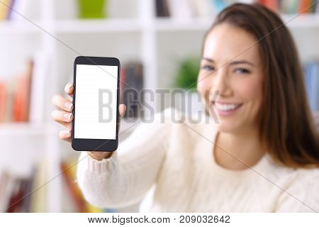 Woman Wearing Sweater Showing Smart Phone Screen