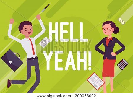 Hell yeah. Business motivation poster. Achieving success, aspiring and existing, win market, competition, industry position. Vector flat style cartoon illustration on green background