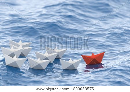 Leadership concept red leader boat leading whites in the waves of the sea. 3D Rendering.
