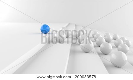 Leadership Concept, Blue Leader Ball With Whites Go Up The Steps, On White Background. 3D Rendering.