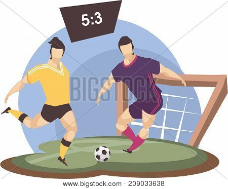 Vector illustration of a sports emblem isolated on white background football players running with the ball