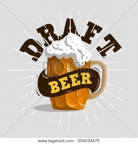 Draft Beer Typographic Label Design  With A Mug Or A Krug Of Beer With Foam Illustration. Vector Graphic.