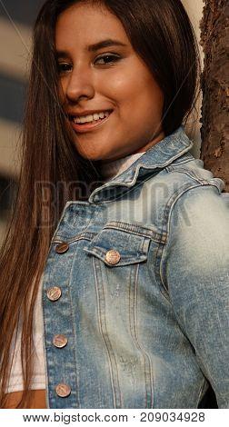 Beautiful Hispanic Female Teenager With Long Brunette Hair