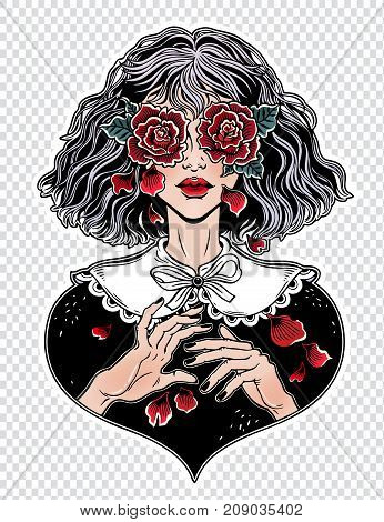 Young girl with weeping eyes as roses, crying tears as rose petals. Gothic, sadness, Halloween concept art. Tattoo, sticker design. Isolated vector illustration vinatge style. Romantic surreal art.