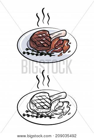 pork on the bone. chop. vector illustration on white background