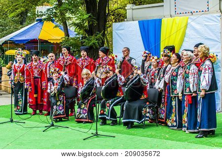 Melitopol On October 14, 2017. The Cossack Choir Sings In Ukraine On Cossack Day.
