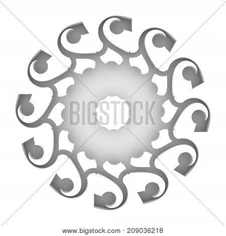 Decorative design element. Pattern with geometric ornament. Circular ornamental symbol. Islam, Arabic and Indian, ottoman motifs. 3D rendering