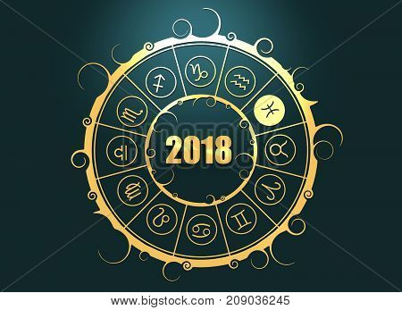 Astrological symbols in the circle. Pisces sign. Celebration card template. Zodiac circle with 2018 new year number. 3D rendering