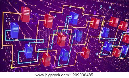 Multicolored Big Data Transfer Process