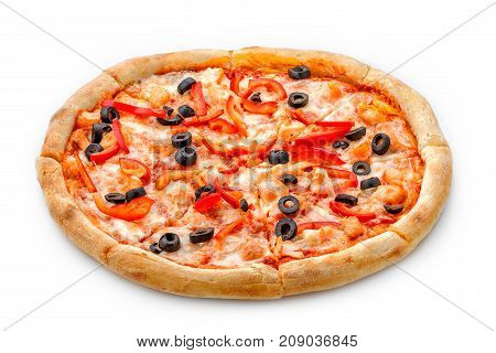 Delicious Fresh Pizza On A Lush Dough On A White Background. Fresh Italian Pizza Classic Original Wi