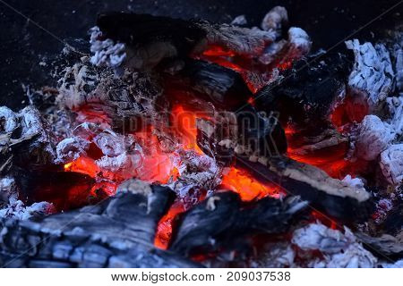 Macro shot of glowing ember in a fireplace