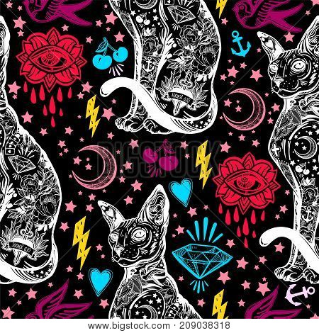 Vintage style traditional tattoo flash magic inked cat seamless doodle pattern. Trendy stylish texture. Repeating old school tile, artwork for print and textiles. Isolated vector illustration.