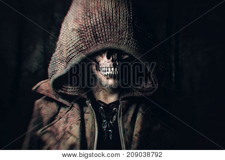 bloody male Zombie with Hood looking friendly