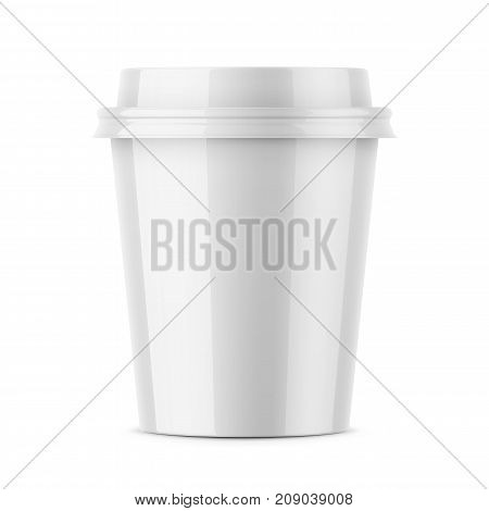 White glossy disposable cup with lid for hot beverage coffee, tea, espresso. 250 ml. Realistic packaging mockup template. Vector 3d illustration.