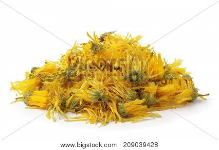 Heap of  dried calendula flowers isolated on white