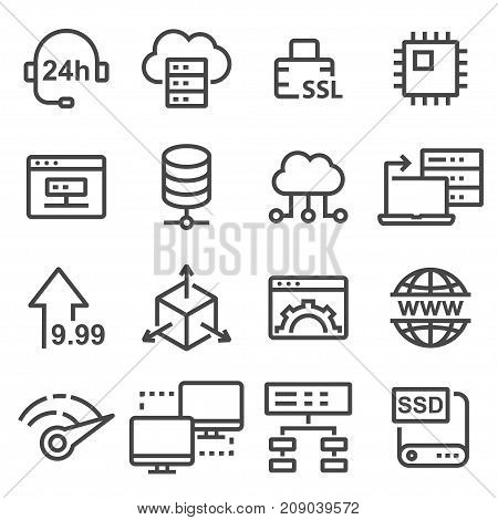 Hosting vector icon database symbol. Illustration for web site or mobile app