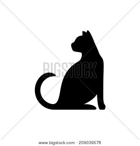 Black cat silhouette. Elegant cat sitting side view with turn around head.