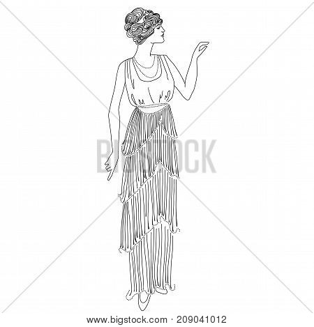 Retro style girl. Vintage card. Black and white vector illustration. Anti-stress adult coloring