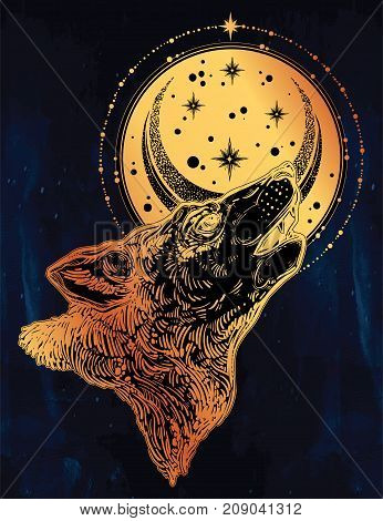 Decocrative hand drawn lonely wolf howling at moon with starry sky circle element. Isolated vintage style vector illustration. Solitude, freedom. Tattoo, adventure wildlife symbol. The great outdoors.