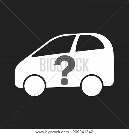 Isolated Electric Car With A Question Sign
