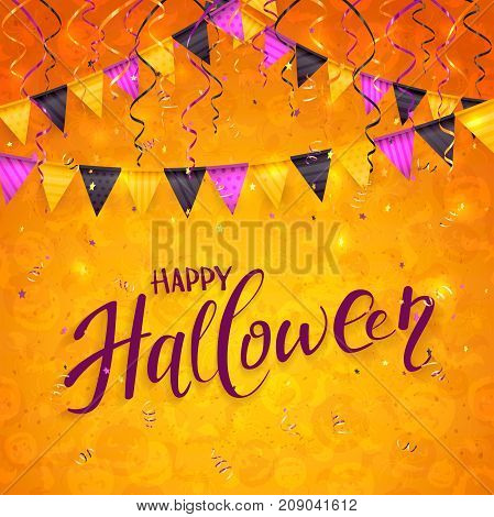 Text Happy Halloween on an orange background with holiday images, colorful pennants, streamers and confett,i illustration.