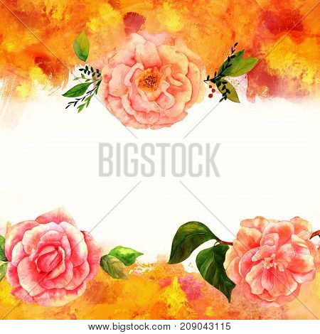 Background texture with vibrant red, yellow, orange, and white painterly brush strokes and watercolor flowers. Abstract artistic frame with place for text, roses, camellia, invitation design template