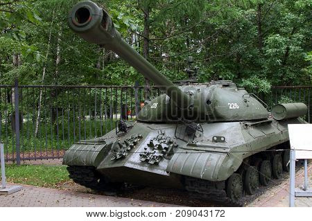 Moscow Russia - July 19 2017: Heavy tank IS-3 model 1945 (USSR) on grounds of weaponry exhibition in Victory Park at Poklonnaya Hill.
