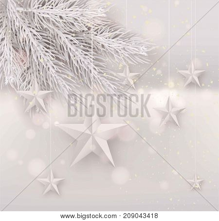 Cutout white Foil paper Stars and black fur tree with falling snow on light Background. Elegant Christmas Greeting Card or poster Template design. Vector Illustration.
