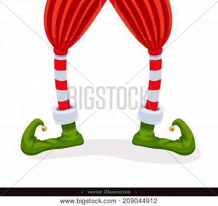 Legs Christmas Elf in green shoes with bells in striped stockings and in short red breeches. Isolated on white. Humorous xmas collection. Creative festive background. Vector illustration