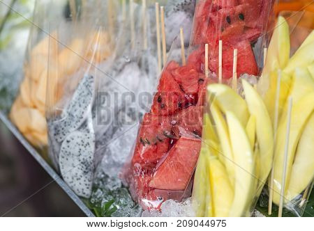 Ready to eat fruits in plastic bag on street food of Bangkok Thailand