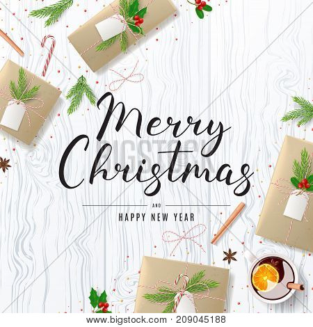 Merry Christmas Background with Festive Decoration. Beautiful Greeting Card with Lettering. Top View on Composition with Paper Gift Boxes for Happy New Year. Vector Illustration.