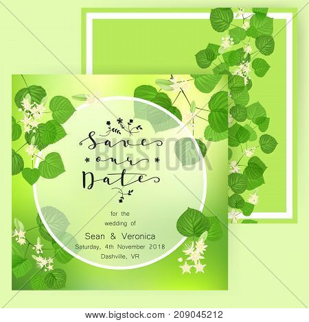 Save the date card, wedding invitation, greeting card with beautiful flowers, green leaves of linden and letters Save The Date