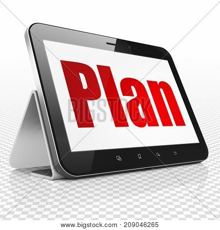Business concept: Tablet Computer with red text Plan on display, 3D rendering