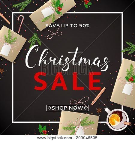 Christmas Sale Background with Festive Decoration. Beautiful Greeting Card with Lettering. Top View on Composition with Paper Gift Boxes for Happy New Year. Vector Illustration with Discount Offer.