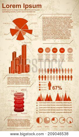 Different diagram templates infographics set presenting statistics and percentage in red color on textured background flat vector illustration