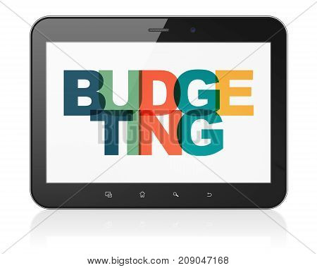 Finance concept: Tablet Computer with Painted multicolor text Budgeting on display, 3D rendering