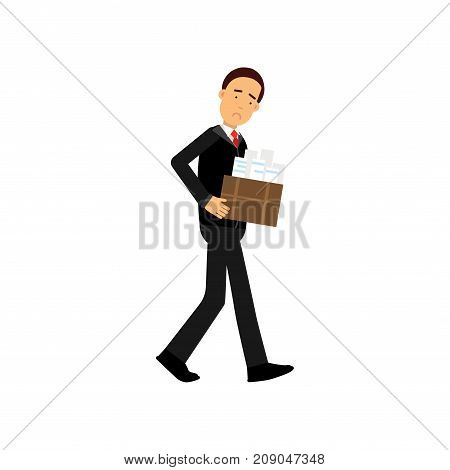 Frustrated businessman character leaving his work, economic crisis, employee job reduction, unemployment vector Illustration isolated on a white background
