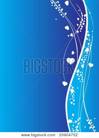 Valentines Day background with Hearts, flower and wave, element for design, vector illustration