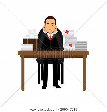 Stressed businessman character has a lot of work, overloaded office worker, business and financial failure, economic crisis vector Illustration isolated on a white background