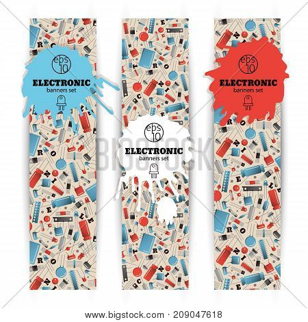 Three vertical narrow electronic banners set with colorful transistors on white background isolated vector illustration
