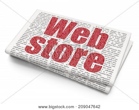 Web design concept: Pixelated red text Web Store on Newspaper background, 3D rendering