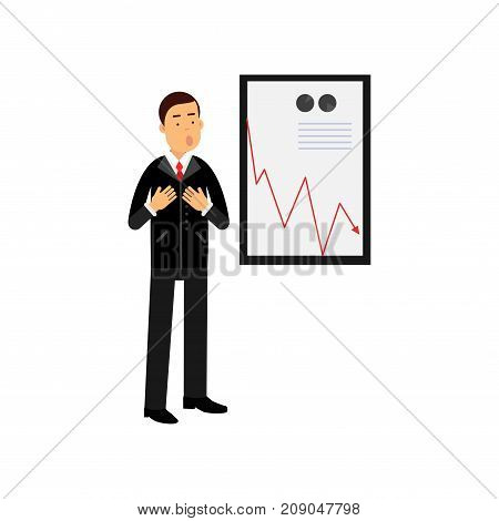 Stressed businessman character standing against a bad results chart, bad sales, business and financial failure, economic crisis vector Illustration isolated on a white background
