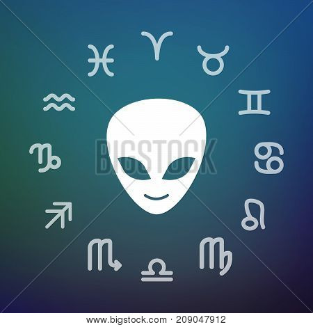 Horoscope Circle With An Alien Face
