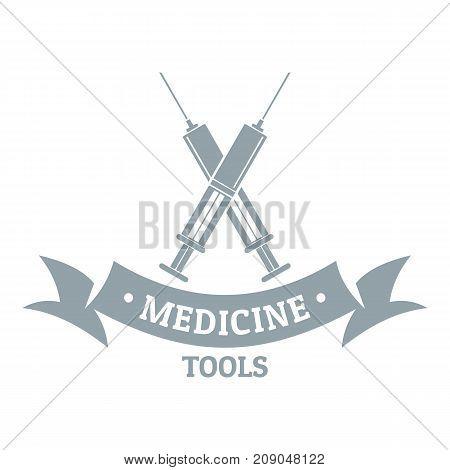 Medical equipment logo. Gray monochrome illustration of medical equipment vector logo for web