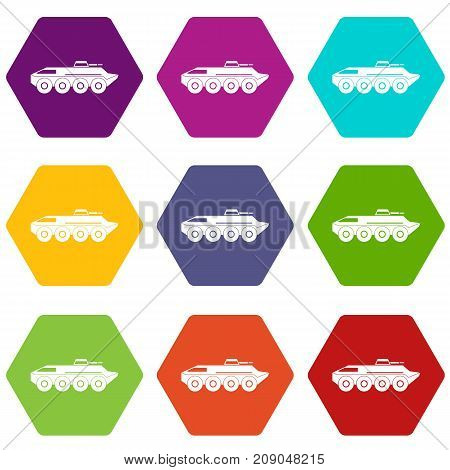 Armored personnel carrier icon set many color hexahedron isolated on white vector illustration