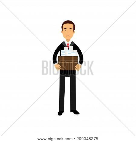 Unhappy businessman character leaving his work with box, economic crisis, employee job reduction, unemployment vector Illustration isolated on a white background