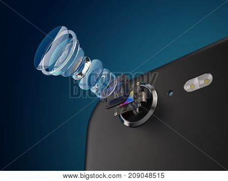 Modern lens of smartphone camera structure. New features for a smartphone camera concept. 3d illustration