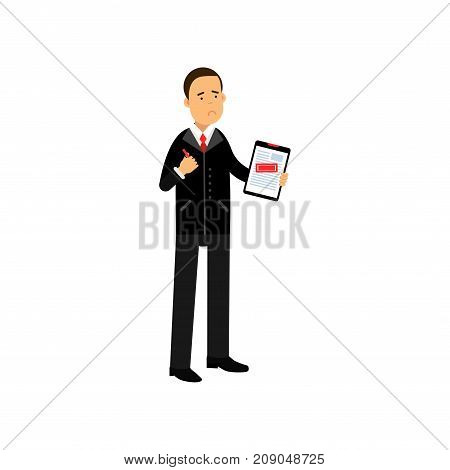 Sad businessman character holding rejected application form, business and financial failure, economic crisis vector Illustration isolated on a white background