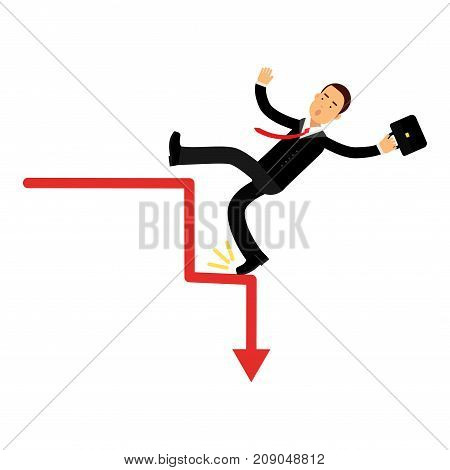 Stressed businessman character falling down of career ladder, business and financial failure, economic crisis vector Illustration isolated on a white background
