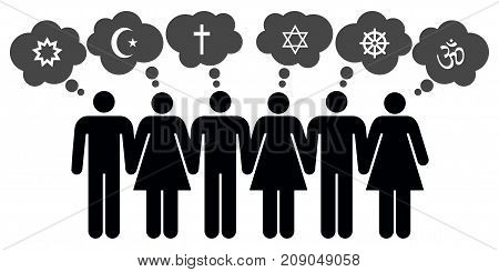 Vector people of different religions on white background